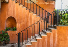 Stair on the classic orange building Stock Image