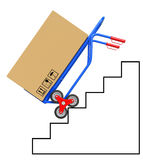 Stair climbing hand truck with package Royalty Free Stock Photography