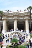 Stair and colonnade at park guell Stock Images