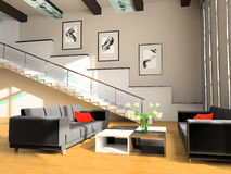 Stair in a drawing room. Sofa and stair in a drawing room 3d image Royalty Free Stock Photo