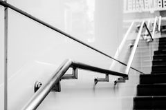Stair and holder. Outside the building in black and white Stock Photography