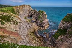 Stair Hole, near Lulworth in Dorset, England. Stair Hole, near Lulworth in Dorset, Jurassic Coast, England stock photo
