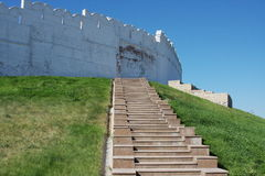 Stair and Kremlin wall, city Kasan Royalty Free Stock Photos