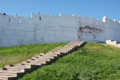 Stair and Kremlin wall, city Kasan Stock Photo
