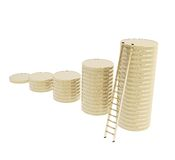 Stair ladder and stack of coins isolated Royalty Free Stock Image