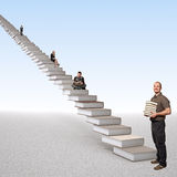 Stair of learning. Smiling men and 3d books stair with people Royalty Free Stock Image