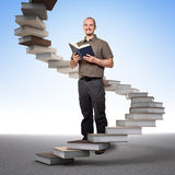 Stair of learning and success. Man with book and learning 3d stair stock illustration