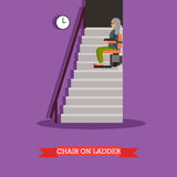 Stair lift for the elderly vector illustration in flat style Royalty Free Stock Image