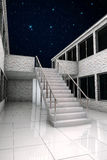 Stair in the night. White stairs in the night under the stars Royalty Free Stock Photo