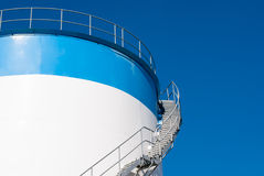 Stair on a oil storage tank Stock Photo