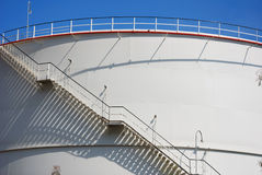 Stair at oil tank. With shadow Stock Photography