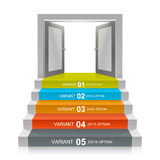 Stair with open doors. Art. Vector illustration Stock Photo