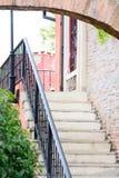 Stair and orange brick wall Royalty Free Stock Photo
