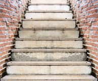 Stair and orange brick wall Royalty Free Stock Image