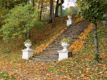 Stair in park. Old stair in autumn park in Sveksna, Lithuania Stock Photo