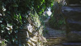 Stair Path on the hiking trail from Monterosso, Cinque Terre, Italy stock footage