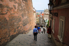 Stair pathway in prague. People spent their time on path walikng street in Prague Royalty Free Stock Image