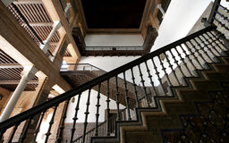 Stair railing. Stairs, railings, inside an ancient building, the lower angle Stock Image