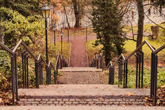 Stair with railing and lanterns Royalty Free Stock Photography