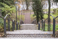 Stair with railing and lanterns Stock Photos