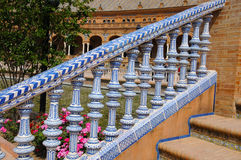 Stair railing. On the palace on Plaza de Espana in Seville, Andalusia, the most famous landmark in the city. It was built in 1928 for the Ibero-American Stock Image