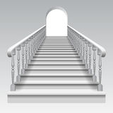 Stair with railings. White stair with railings and archway on white background. There is in addition a vector format (EPS 10 Stock Photo