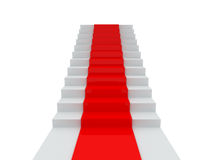 Stair with Red Carpet Stock Images