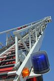 Stair riser and blue truck Siren of firefighters during an emerg Stock Photography