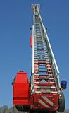 Stair riser and blue truck Siren of firefighters during an emerg. Ency in the city Stock Photo