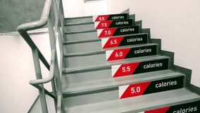 Stair riser with calories count banner. One step 0.5 caloreis. motivate for weight lose stock image