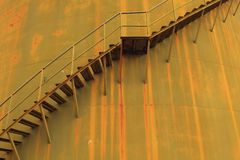 Stair on rust tank Royalty Free Stock Images