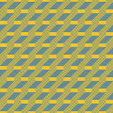 Stair step located rectangles and diagonal lines seamless patter. Abstract seamless pattern in yellow and blue retro colors. Stair step located rectangles and Stock Photography