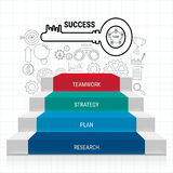 Stair step with sucess key and icons set infographics. Staircase to success. Royalty Free Stock Image