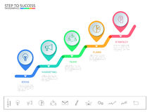 Stair step to success concept. Business timeline modern colorful pointer infographics template with icons and elements. Can be used for workflow layout, banner Royalty Free Stock Photos