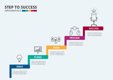 Stair step to success. Staircase with icons and elements to success. Stock Photography