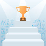 Stair step to Trophy and success with icons and elements. Success concept. Royalty Free Stock Photo