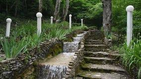 Stair step waterfall in Gelendzhik stock video footage
