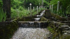 Stair step waterfall in Gelendzhik stock footage