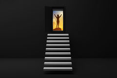 Stair or steps up to the success in a door against black wall and floor,Opened door to success woman and stair in black room with. Shadow.business success Stock Images