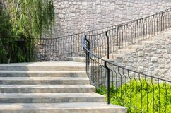 Stair and Stone Wall Stock Image