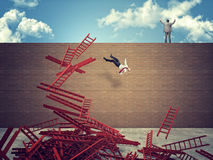 Stair for success. Businesspeople and abstract falling stair Royalty Free Stock Image