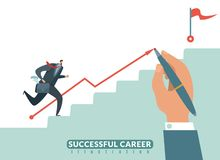 Stair to the goal. Path to success business career, businessman stairway to target and growth employeeman vector. Stair to the goal. Path to success business royalty free illustration