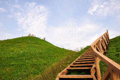 Stair to heaven. Stair to the top of high hill Royalty Free Stock Image