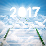 Stair to numbers 2017 in the sky Royalty Free Stock Photography
