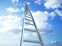 Stair to the sky. 3d image of a very high stair on a blue sky Royalty Free Stock Photography