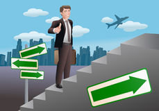 Stair to success. Illustration of a businessman stepping up on  stair for success career Royalty Free Stock Image