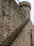 Stair to Tossa's fortress wall. Stair to a fortress wall, Tossa de Mar, Costa Brava, Spain Stock Photography