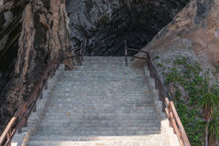Stair treads to the grotto at Arta in Mallorca, Spain. Entry to the cave of Coves d Arta Mallorca in Spain Royalty Free Stock Photo