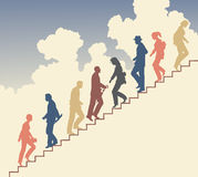 Stair walkers. Colorful editable  silhouette of people on stairs against the sky Royalty Free Stock Photos