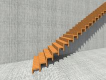 Stair on wall background building or architecture. Conceptual stair on wall background building or architecture as metaphor to business success, growth, progress Royalty Free Stock Photo